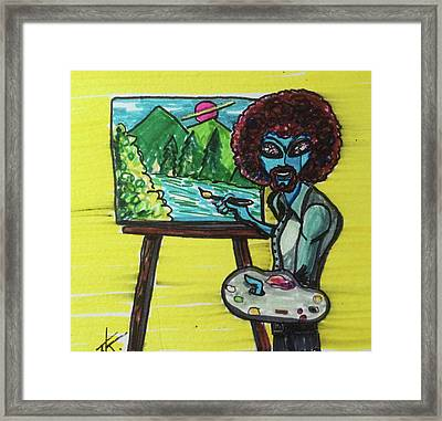 alien Bob Ross Framed Print
