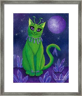 Framed Print featuring the painting Alien Cat by Carrie Hawks