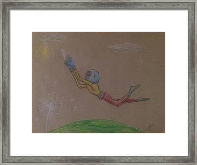 Framed Print featuring the drawing Alien Chasing His Dreams by Similar Alien