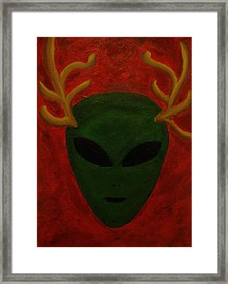Alien Deer Framed Print by Lola Connelly
