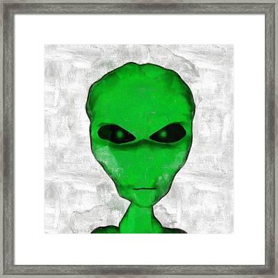 Alien Green Face Framed Print by Esoterica Art Agency