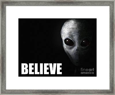 Alien Grey - Believe Framed Print