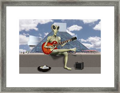 Alien Guitarist 3 Framed Print