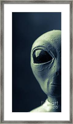 Alien Half Profile Phone Case Framed Print by Edward Fielding