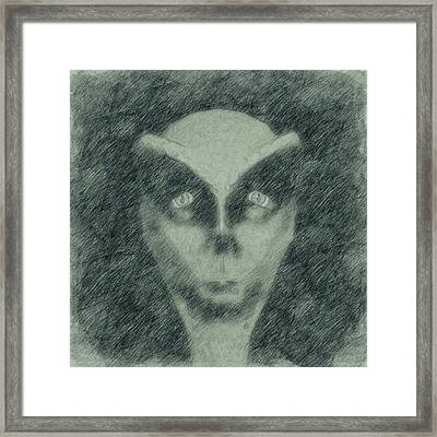 Alien Head Sketch Framed Print by Raphael Terra