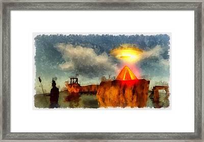 Alien Home Planet Framed Print by Esoterica Art Agency