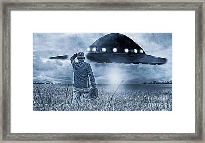 Alien Invasion Cyberpunk Version Framed Print