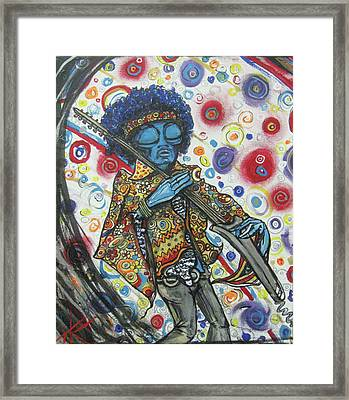 Framed Print featuring the painting alien Jimi Hendrix by Similar Alien