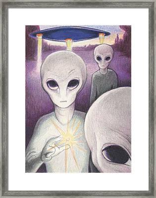 Alien Offering Framed Print by Amy S Turner