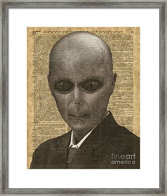 Alien Over Dictionary Page Framed Print by Jacob Kuch