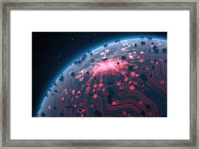 Alien Planet With Illuminated Network Framed Print