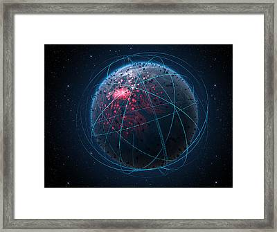 Alien Planet With Illuminated Network And Light Trails Framed Print