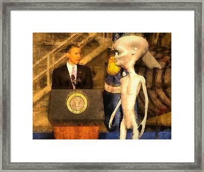 Alien President Framed Print by Raphael Terra