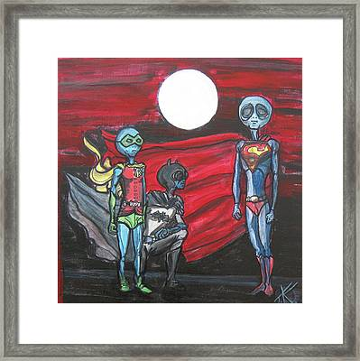 Alien Superheros Framed Print