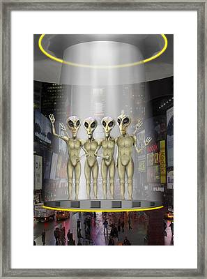 Alien Vacation - Beamed Up From Time Square Framed Print by Mike McGlothlen
