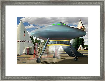 Alien Vacation - Gasoline Stop Framed Print by Mike McGlothlen