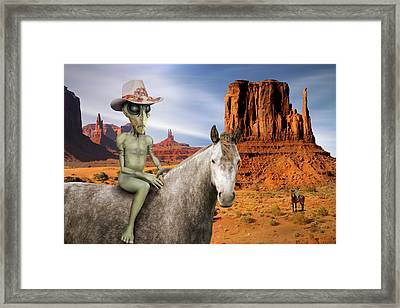 Alien Vacation - Monument Valley Framed Print