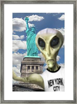 Alien Vacation - New York City 2 Framed Print by Mike McGlothlen