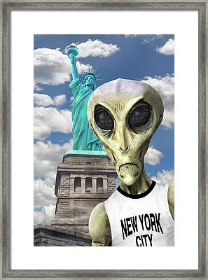 Alien Vacation - New York City 3 Framed Print by Mike McGlothlen