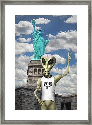 Alien Vacation - New York City Framed Print by Mike McGlothlen