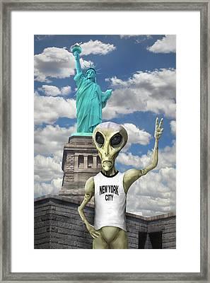 Alien Vacation - New York City Framed Print by Mike McGlothlen