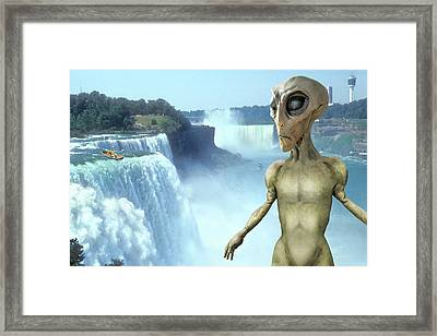 Alien Vacation - Niagara Falls Framed Print