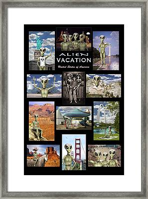 Alien Vacation - Poster Framed Print by Mike McGlothlen