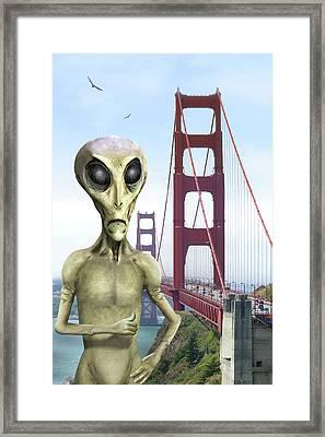 Alien Vacation - San Francisco Framed Print