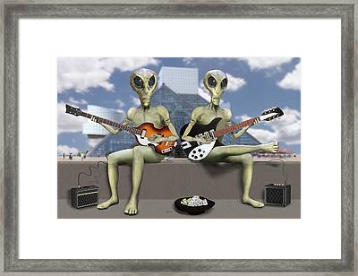 Alien Vacation - Trying To Make Ends Meet Framed Print by Mike McGlothlen