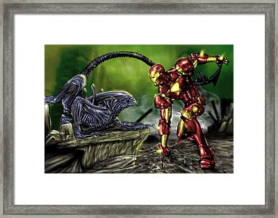 Alien Vs Iron Man Framed Print by Pete Tapang