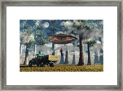 Aliens Abducting A Man Into A Flying Framed Print by Mark Stevenson