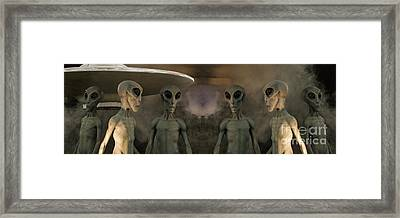 Aliens And Ufo 7 Framed Print by Bob Christopher