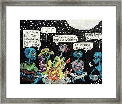 Aliens By The Campfire Framed Print
