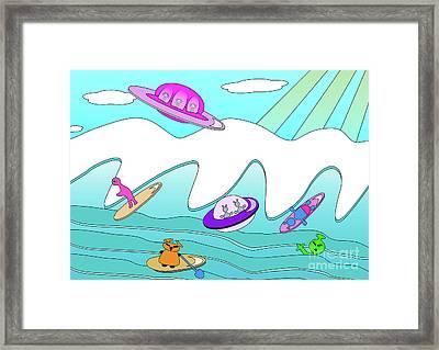 Aliens Go Surfing  Framed Print