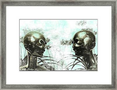 Aliens In My Garden Framed Print by Tyler Robbins