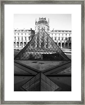 Aligned Pyramids At The Louvre Framed Print