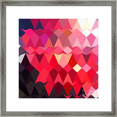 Alizarin Crimson Abstract Low Polygon Background Framed Print by Aloysius Patrimonio