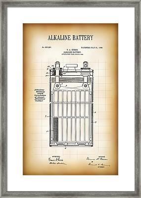 Alkaline Battery Patent 1906 Framed Print