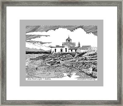 Alki Point Lighthouse Seattle Framed Print by Jack Pumphrey