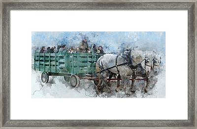 All Aboard - Christmas Family Wagon Ride Watercolor Framed Print