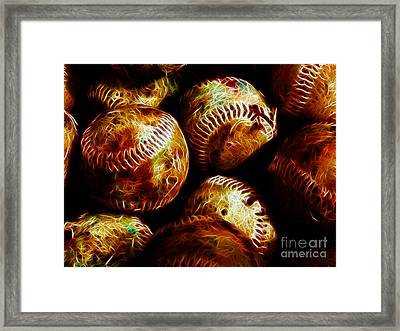 All American Pastime - A Pile Of Fastballs - Electric Art Framed Print by Wingsdomain Art and Photography
