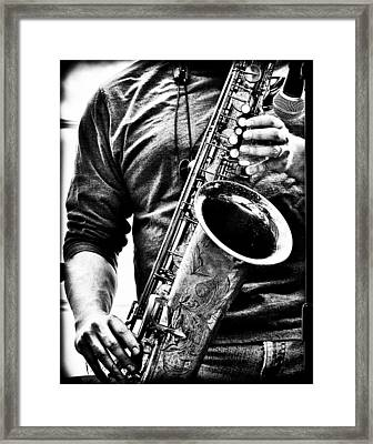 All Blues Man With Jazz On The Side Framed Print by Bob Orsillo
