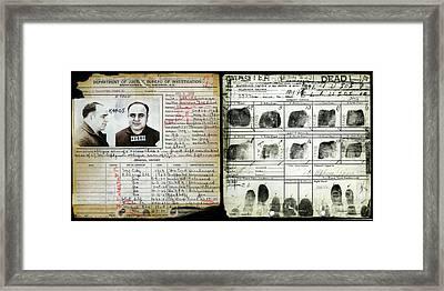 All Capone Booking Sheet Framed Print by Jon Neidert