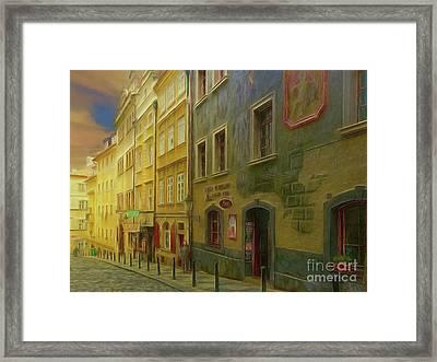 All Downhill From Here - Prague Street Scene Framed Print