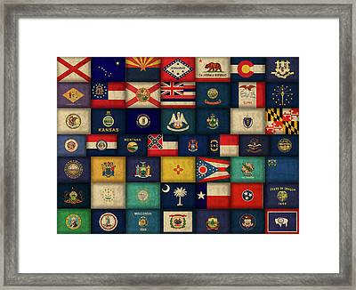 All Fifty States Of The United States Flags Art Framed Print