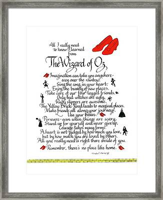 All I Need To Know I Learned From The Wizard Of Oz Framed Print
