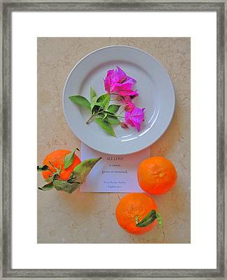 All Love Is Sweet, Given Or Returned. Framed Print by Andy Za