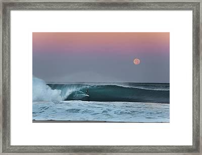 Full Moon Surfer Framed Print by Sean Davey