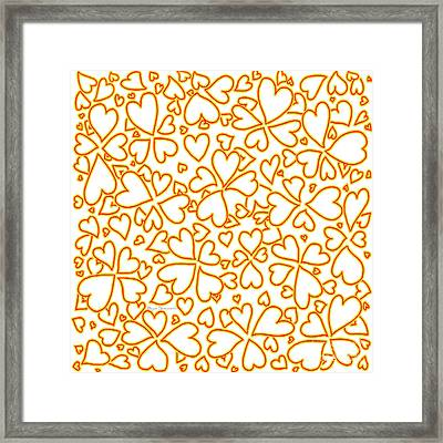 All Over Hearts Pattern Design Floral Fiesta I By Megan Duncanson Framed Print by Megan Duncanson