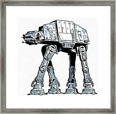 All Terrain Armored Transport At At Walker Framed Print by Edward Fielding